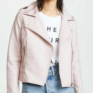 amelie moto, bb dakota, faux leather, moto jacket, parchment jacket, pink jacket, vegan jacket