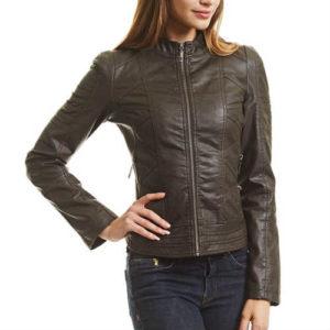 biker jacket, coffee leather jacket, faux leather jacket, fitted jacket, form-hugging, leather jacket, vegan jacket, vegan leather jacket