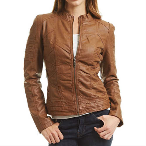 biker jacket, camel leather jacket, faux leather jacket, fitted jacket, form-hugging, leather jacket, vegan jacket, vegan leather jacket