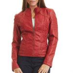 biker jacket, faux leather, faux leather jacket, fitted jacket, form-hugging, moto jacket, red leather jacket, vegan jacket