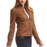 biker jacket, camel leather jacket, faux leather, faux leather jacket, fitted jacket, form-hugging, leather jacket, lightweight, made by johnny jacket, mbj jacket, moto jacket, vegan jacket, vegan leather jacket