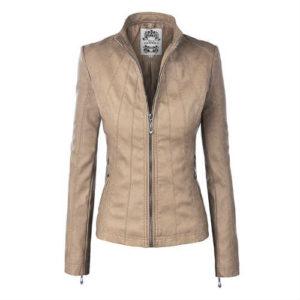 biker jacket, faux leather, faux leather jacket, fitted jacket, form-hugging, khaki jacket, leather jacket, made by johnny jacket, mbj jacket, moto jacket, vegan jacket, vegan leather jacket