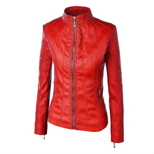 biker jacket, black jacket, faux leather, faux leather jacket, fitted jacket, form-hugging, leather jacket, lightweight, made by johnny jacket, mbj jacket, moto jacket, red leather jacket, vegan jacket, vegan leather jacket