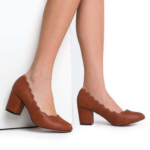 vegan shoes, vegan pumps, vegan tan shoes, non leather shoes, scallop shoes, chunky heel, block heel, comfortable shoes, tan shoes,