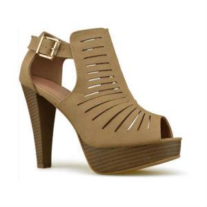 vegan sandals, vegan shoes, cutout shoes, peep toe vegan, tan shoes, high heel shoes, comfortable shoes