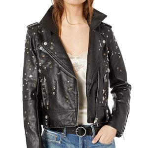 studded biker jacket, vegan biker jacket, vegan leather jacket, blank nyc leather jacket